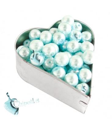 Perle 8 mm Vetro Cerato colore Celeste Chiaro (100 pezzi)