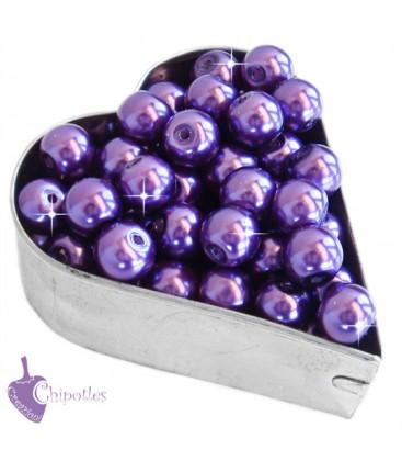Perle 8 mm Vetro Cerato colore Viola (100 pezzi)