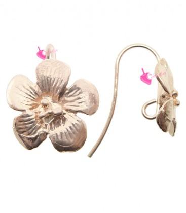 Monachelle per Orecchini con Fiore 15 mm Argento 925 Oro Rosa