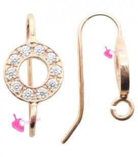 Monachelle per Orecchini con Cerchio Strass 8 mm Argento 925 Oro Rosa