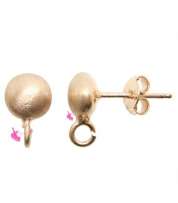 Perni per Orecchini Cipollina Satinata 7 mm Argento 925 Oro Rosa
