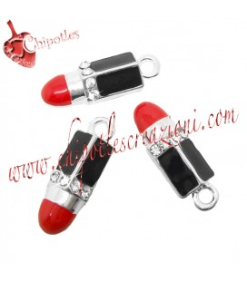 Ciondolo Rossetto Smaltato con Strass 25x8 mm