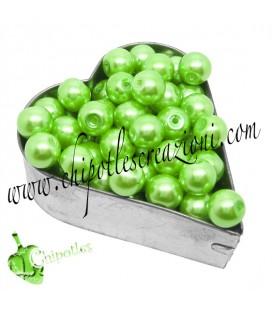 Perle 8 mm Vetro Cerato colore Verde Acceso (100 pezzi)