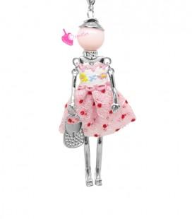 Collana Bambola Bambolina con Vestito a Pois Rosa