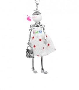 Collana Bambola Bambolina con Vestito a Pois Bianco