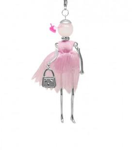 Collana Bambola Bambolina con Vestito Organza Rosa