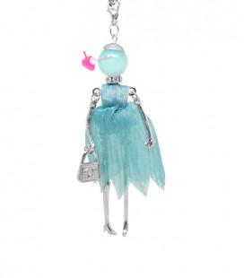 Collana Bambola Bambolina con Vestito Organza Vari Colori