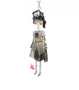 Collana Bambola Bambolina con Occhiali Vestito Grigio