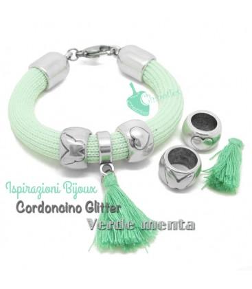 Bracciale Glitter Verde Menta con Nappina (Esempio Bijoux)