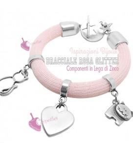 Kit Bracciale Rosa Glitter con Charms (Esempio Bijoux)