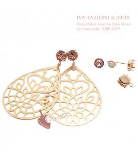 Kit Orecchini con Goccia Traforata Oro Rosa e Swarovski Rose Peach (Esempio Bijoux)