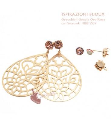 Orecchini con Goccia Traforata Oro Rosa e Swarovski Rose Peach (Esempio Bijoux)
