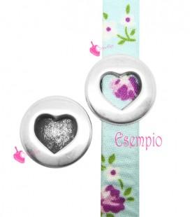 Perla Passante Tonda con Cuore Forato 18 mm (Ø 10x2 mm) color Argento Antico