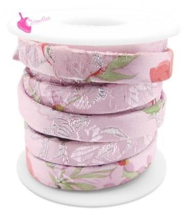 Cordoncino Piatto 10 mm Fantasia Kimono Rosa (1 metro)