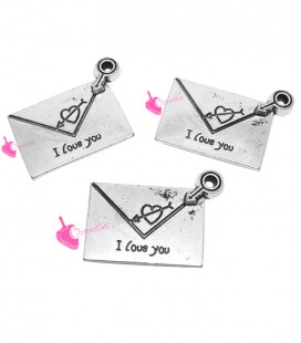 "Ciondolo Busta da Lettere con scritta ""I love you"" 24x17mm"