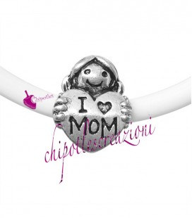 "Perla Foro Largo Cuore Mamma ""I love Mom"" 25x14 mm (5 pezzi)"