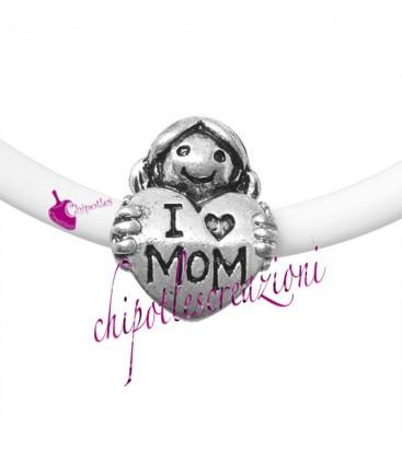 """Perla Foro Largo Cuore Mamma """"I love Mom"""" 25x14 mm (5 pezzi)"""
