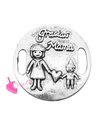 """Charm Connettore Mamma e Figlio con scritta """"Gracias Mama"""" 26 mm"""