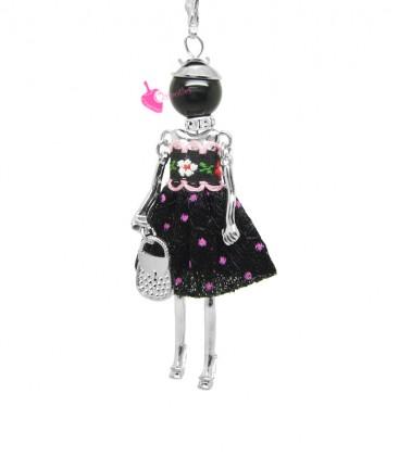 Collana Bambola Bambolina con Vestito a Pois Nero