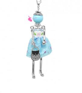 Collana Bambola Bambolina con Vestito a Pois Turchese