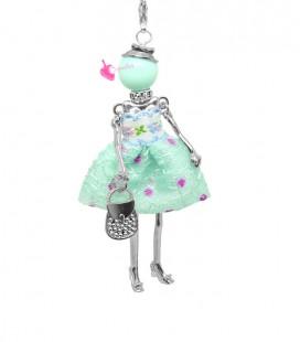 Collana Bambola Bambolina con Vestito a Pois Verde Menta