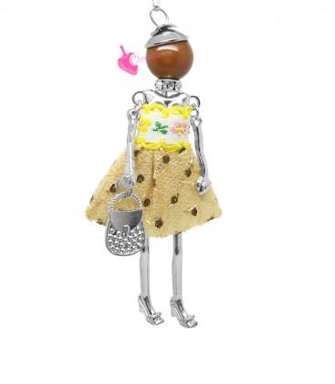 Collana Bambola Bambolina con Vestito a Pois Beige