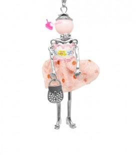 Collana Bambola Bambolina con Vestito a Pois Pesca