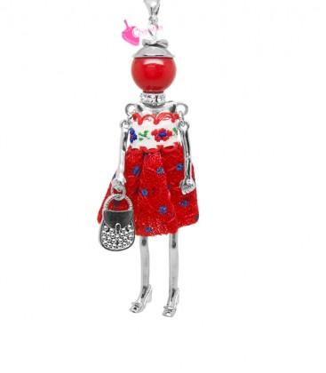 Collana Bambola Bambolina con Vestito a Pois Rosso