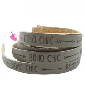 Cordoncino Ecopelle 10 mm con scritta BOHO CHIC Talpa (45 cm)