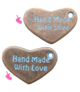 Ciondolo Cuore Hand Made With Love Blu 15x10 mm Rame Antico