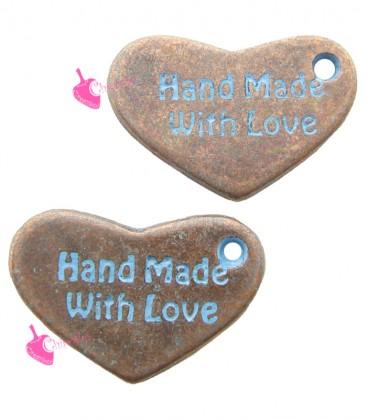 Ciondolo Cuore Hand Made With Love Blu 15x10 mm Rame Antico