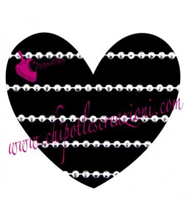 Catena Palline Diamantata 1,2 mm Ottone color Acciaio
