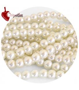 Perle 8 mm Vetro Cerato colore Avorio (100 pezzi)