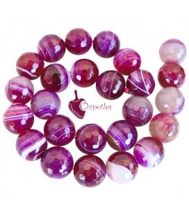 Perla Agata Striata 16 mm colore Fucsia