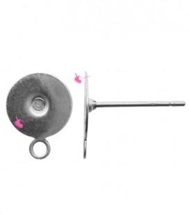 Perni per Orecchini con Piastra 8 mm e Anellino Acciaio Inossidabile (100 pezzi)