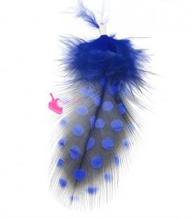 Ciondolo Piuma a Pois 70 mm Blu