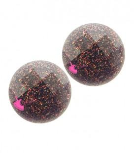 Cabochon Tondo Sfaccettato Acrilico 10 mm Bordeaux Glitter