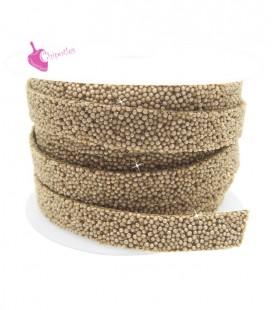 Cordoncino Piatto Glitter 10 mm Effetto Caviale Beige (1 metro)