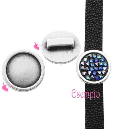 Perla Passante Tonda Foro Piatto (Ø 10 mm) 19 mm (interno 15 mm) color Argento Antico