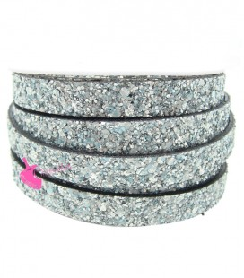Cordoncino Piatto Glitter 10 mm Effetto Paillettes Argento e Turchese