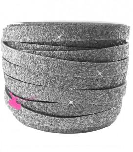 Cordoncino Piatto Glitter 10 mm Effetto Paillettes Grigio Scuro