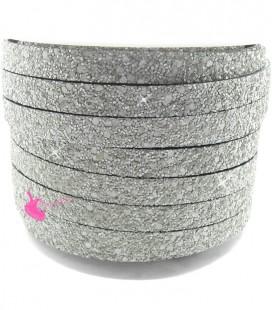 Cordoncino Piatto Glitter 10 mm Effetto Paillettes Grigio Chiaro