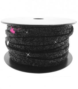 Cordoncino Piatto Glitter 5 mm Effetto Paillettes Nero