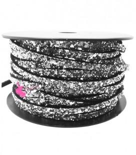 Cordoncino Piatto Glitter 5 mm Effetto Paillettes Argento (1 metro)
