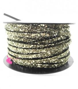 Cordoncino Piatto Glitter 5 mm Effetto Paillettes Oro