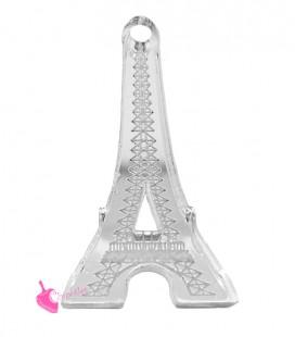 Ciondolo Paris Torre Eiffel 32x16 mm Plexiglass Specchiato Argento