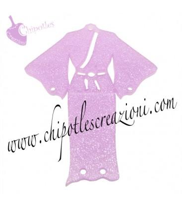 Ciondolo Kimono 61x49 mm Plexiglass Glitter Rosa
