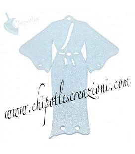 Ciondolo Kimono 61x49 mm Plexiglass Glitter Azzurro