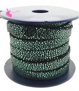 Cordoncino Pelle 10 mm Effetto Razza Nero e Verde Metallizzato (50 cm)