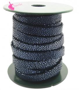 Cordoncino Pelle 10 mm Effetto Razza Nero e Azzurro Metallizzato (50 cm)